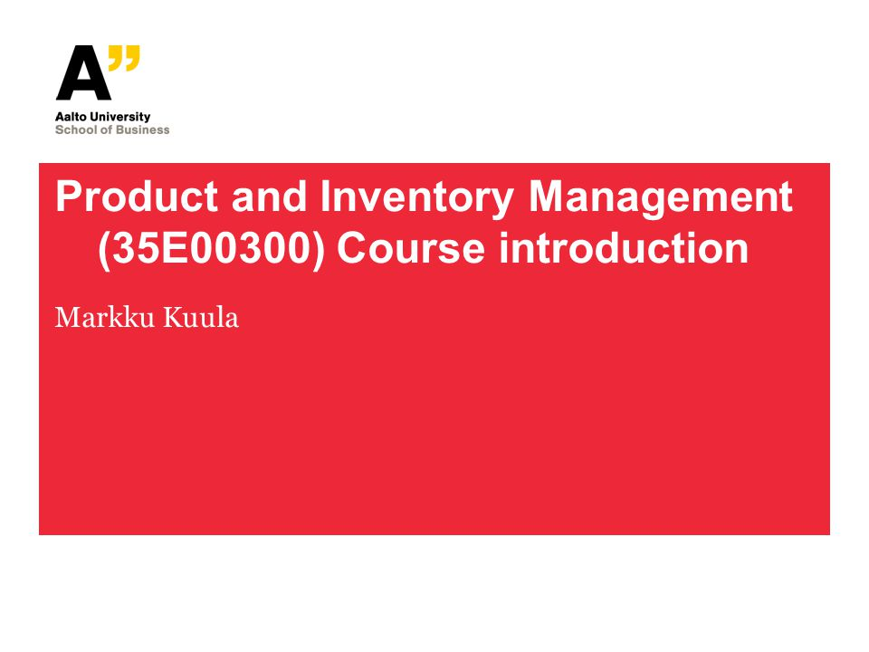 Product and Inventory Management (35E00300) Course