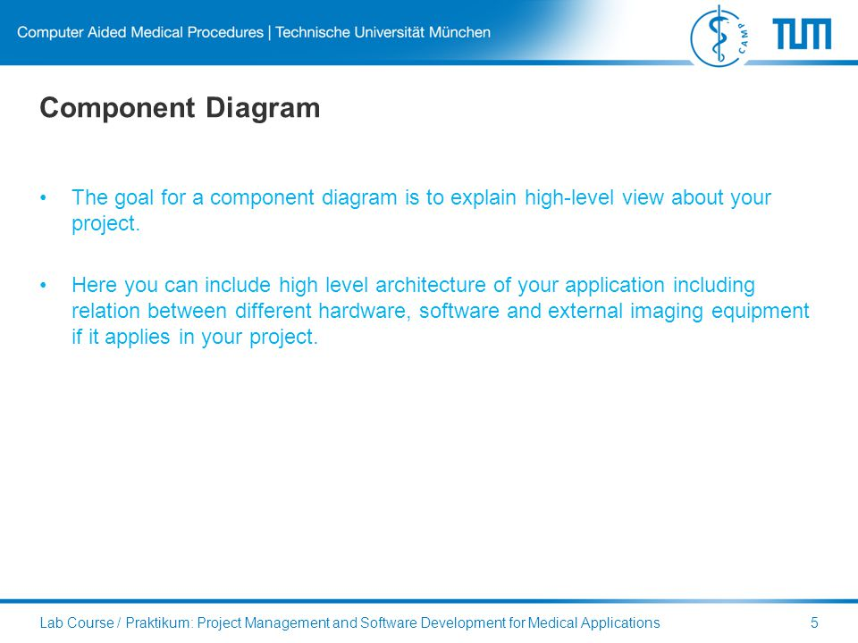 Component Diagram The goal for a component diagram is to explain high-level view about your project.