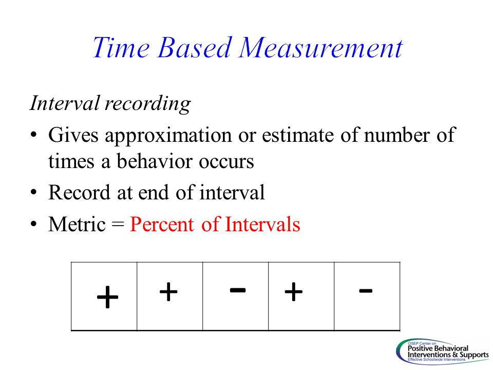 Interval recording Gives approximation or estimate of number of times a behavior occurs Record at end of interval Metric = Percent of Intervals + + - + -