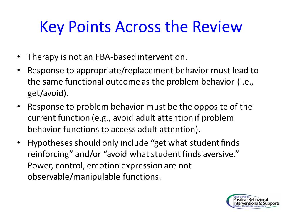 Key Points Across the Review Therapy is not an FBA-based intervention.