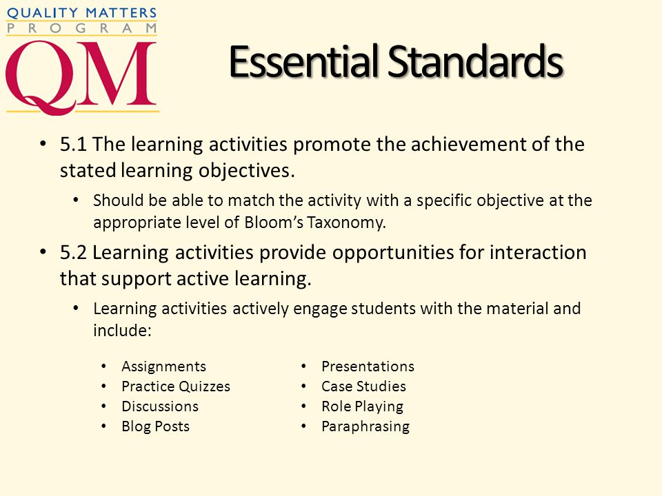 5.1 The learning activities promote the achievement of the stated learning objectives.