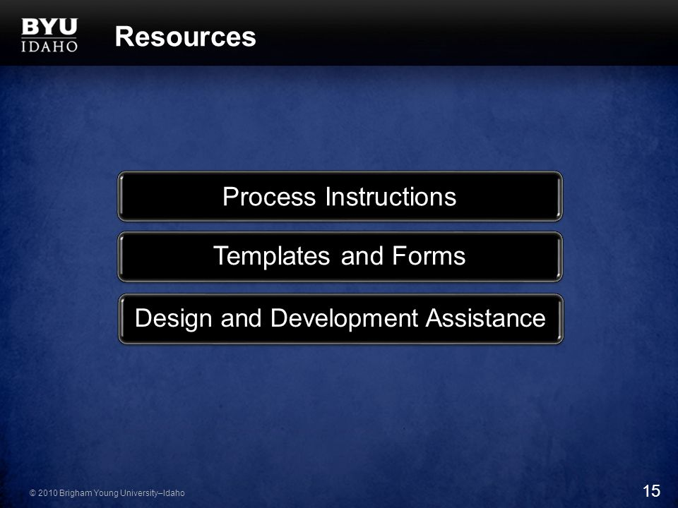© 2010 Brigham Young University–Idaho Resources Process Instructions Templates and Forms Design and Development Assistance 15