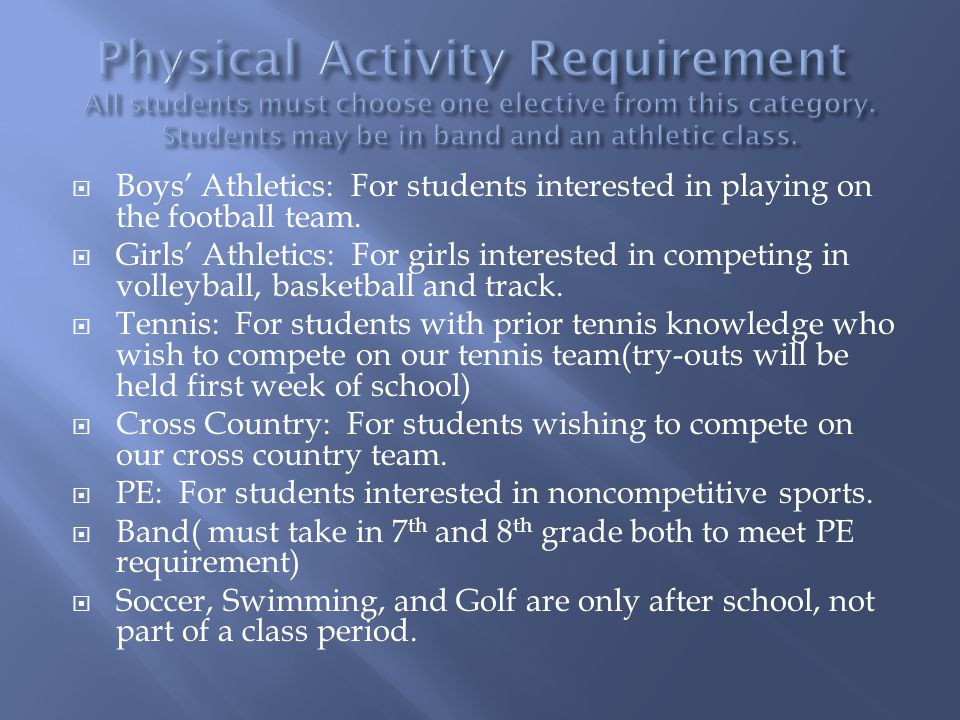 Boys Athletics: For students interested in playing on the football team.