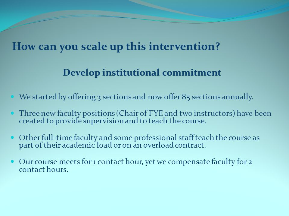 How can you scale up this intervention.