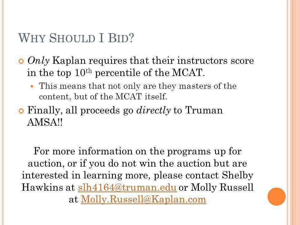 Fast Facts and Figures for AMSAs Kaplan MCAT Auction Through Kaplan