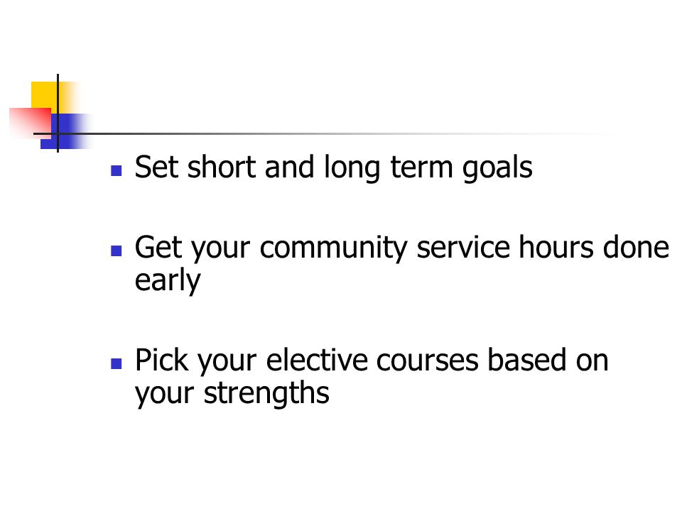 Tips… Make sure your are selecting the appropriate level for your ability and for your future goals.