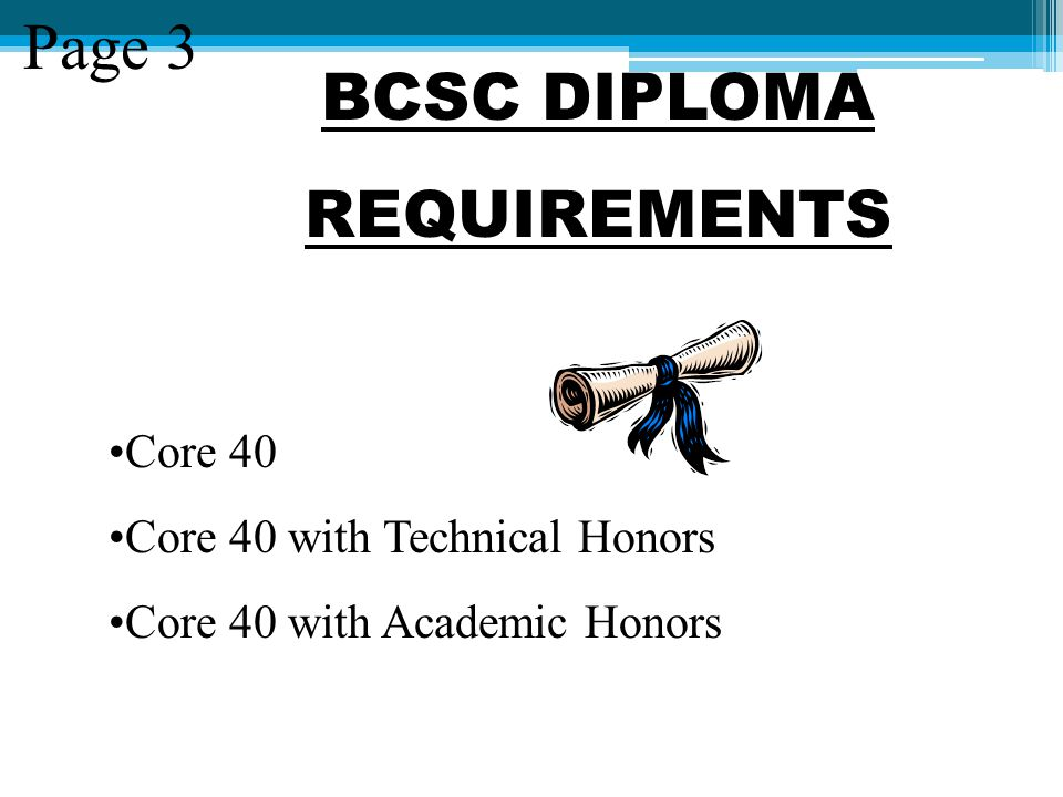 BCSC DIPLOMA REQUIREMENTS Page 3 Core 40 Core 40 with Technical Honors Core 40 with Academic Honors