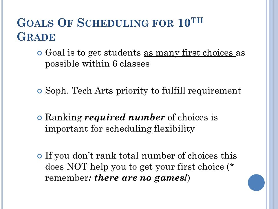 G OALS O F S CHEDULING FOR 10 TH G RADE Goal is to get students as many first choices as possible within 6 classes Soph.