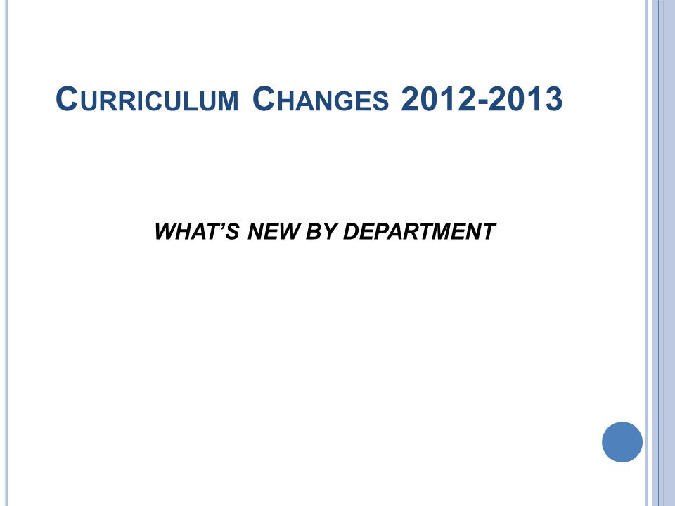 C URRICULUM C HANGES 2012-2013 WHATS NEW BY DEPARTMENT