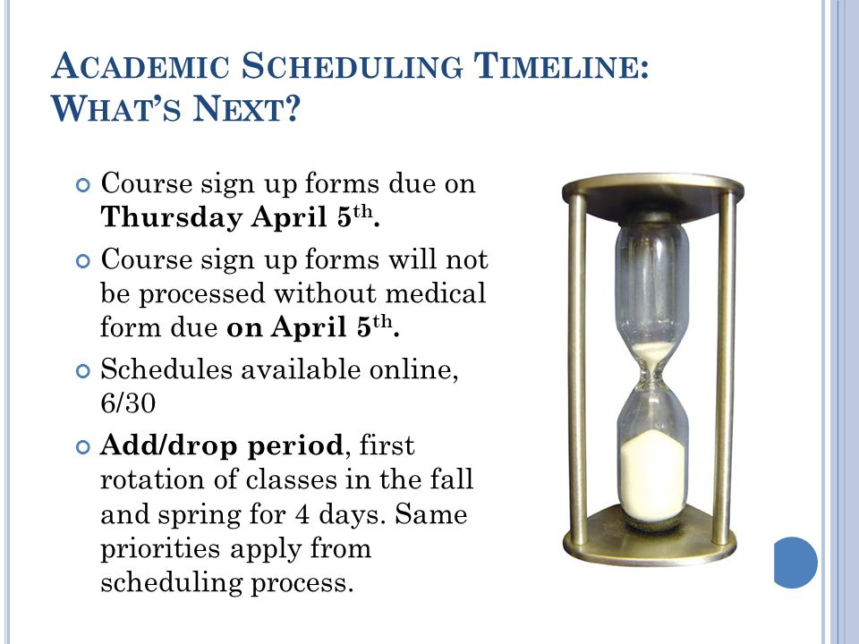 A CADEMIC S CHEDULING T IMELINE : W HAT S N EXT . Course sign up forms due on Thursday April 5 th.