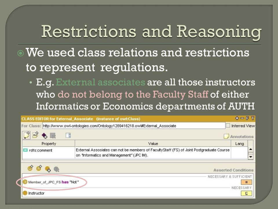 We used class relations and restrictions to represent regulations.