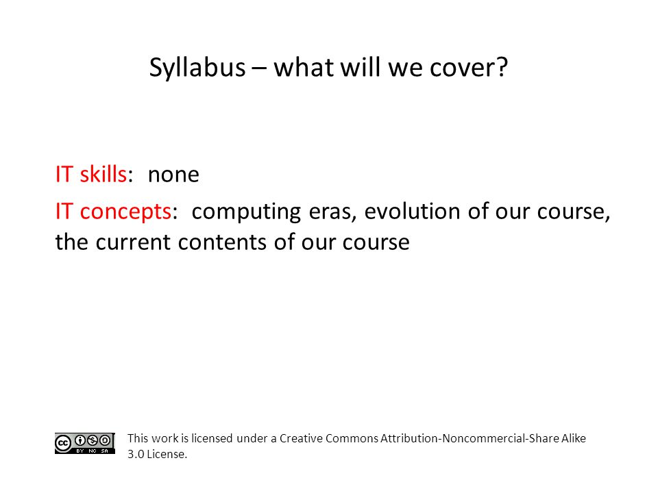 Syllabus – what will we cover.