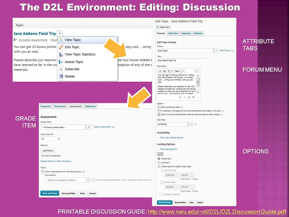 The D2L Environment: Editing: Discussion ATTRIBUTE TABS FORUM MENU OPTIONS GRADE ITEM PRINTABLE DISCUSSION GUIDE: http://www.neiu.edu/~ctl/D2L/D2L Discussion Guide.pdf http://www.neiu.edu/~ctl/D2L/D2L Discussion Guide.pdfhttp://www.neiu.edu/~ctl/D2L/D2L Discussion Guide.pdf