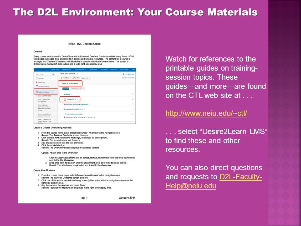 The D2L Environment: Your Course Materials Watch for references to the printable guides on training- session topics.