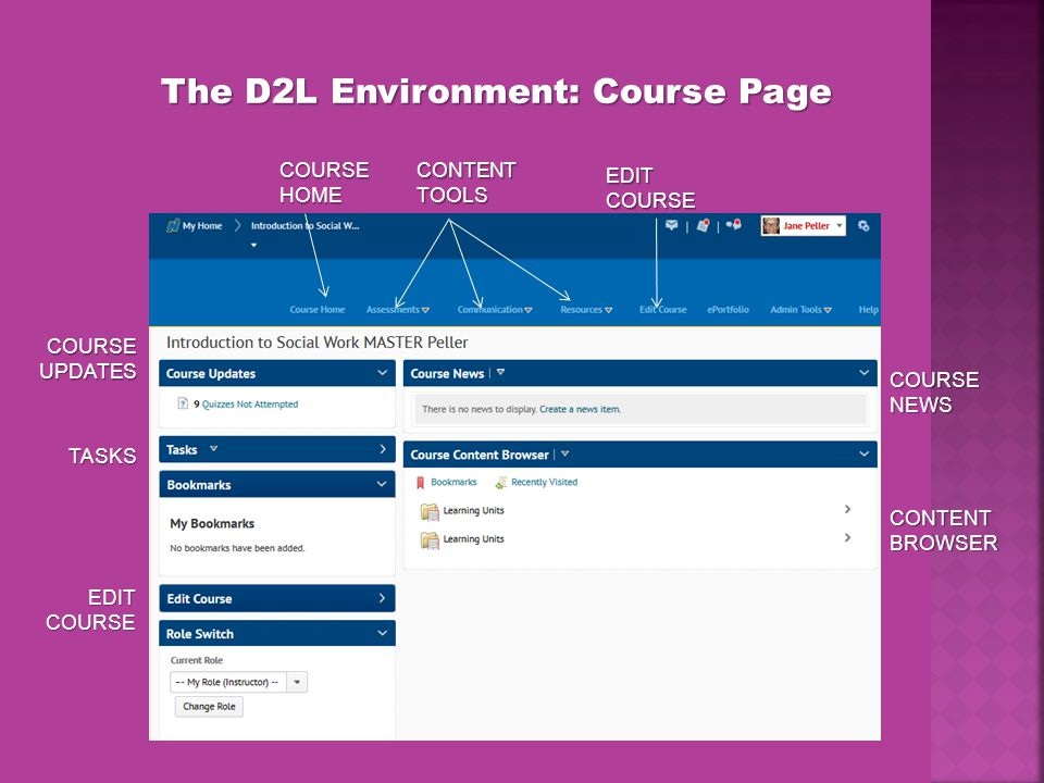 The D2L Environment: Course Page COURSE HOME EDIT COURSE CONTENT TOOLS EDIT COURSE COURSE UPDATES TASKS COURSE NEWS CONTENT BROWSER