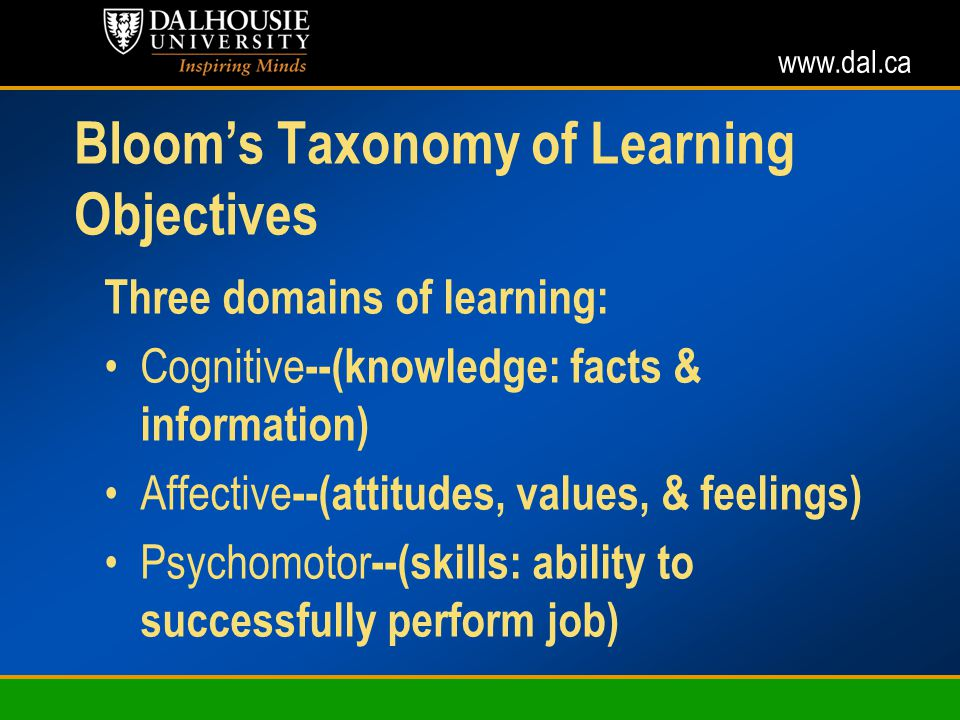 www.dal.ca Blooms Taxonomy of Learning Objectives Three domains of learning: Cognitive --(knowledge: facts & information) Affective --(attitudes, values, & feelings) Psychomotor --(skills: ability to successfully perform job)