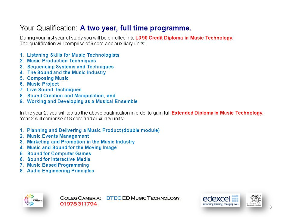 8 Your Qualification: A two year, full time programme.