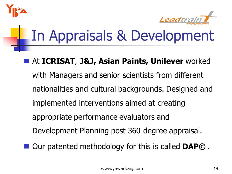 www.yawarbaig.com14 At ICRISAT, J&J, Asian Paints, Unilever worked with Managers and senior scientists from different nationalities and cultural backgrounds.