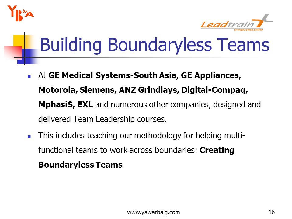 www.yawarbaig.com16 Building Boundaryless Teams At GE Medical Systems-South Asia, GE Appliances, Motorola, Siemens, ANZ Grindlays, Digital-Compaq, MphasiS, EXL and numerous other companies, designed and delivered Team Leadership courses.