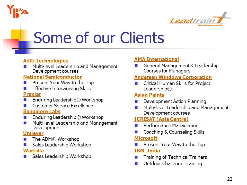 22 Aditi Technologies Multi-level Leadership and Management Development courses National Semiconductor Present Your Way to the Top Effective Interviewing Skills Praxiar Enduring Leadership© Workshop Customer Service Excellence Bangalore Labs Enduring Leadership© Workshop Multi-level Leadership and Management Development Unilever The ADM© Workshop Sales Leadership Workshop Wartsila Sales Leadership Workshop AMA International General Management & Leadership Courses for Managers Andersen Windows Corporation Critical Human Skills for Project Leadership© Asian Paints Development Action Planning Multi-level Leadership and Management Development courses ICRISAT (Asia Centre) Performance Management Coaching & Counseling Skills Microsoft Present Your Way to the Top IBM India Training of Technical Trainers Outdoor Challenge Training Some of our Clients