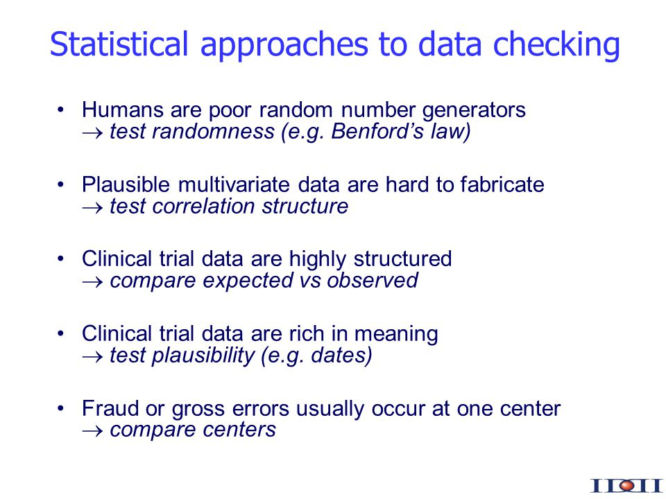 www.iddi.com Statistical approaches to data checking Humans are poor random number generators test randomness (e.g.