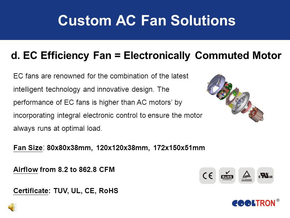 Custom AC Fan Solutions a.Water Proof Fan: IP22~ IP55 Designed to against a wide variety of dust, moisture and direct water exposure Popular Items: FA8025-96, FA1225-96, FA1238-97 b.