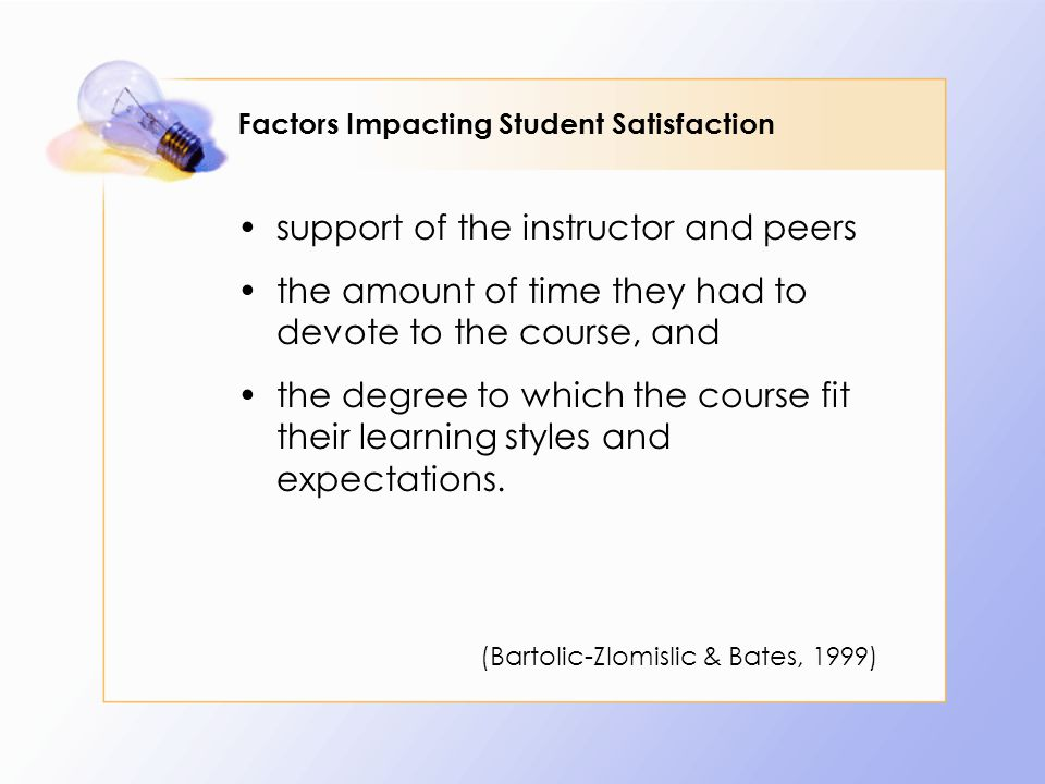Factors Impacting Student Satisfaction support of the instructor and peers the amount of time they had to devote to the course, and the degree to which the course fit their learning styles and expectations.