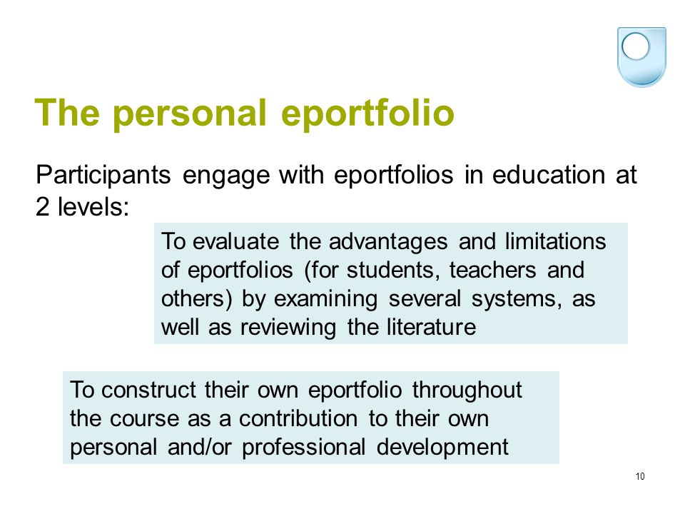 10 The personal eportfolio To evaluate the advantages and limitations of eportfolios (for students, teachers and others) by examining several systems, as well as reviewing the literature Participants engage with eportfolios in education at 2 levels: To construct their own eportfolio throughout the course as a contribution to their own personal and/or professional development