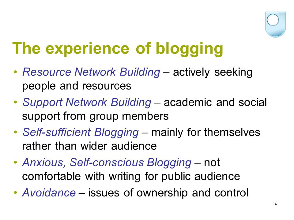 14 The experience of blogging Resource Network Building – actively seeking people and resources Support Network Building – academic and social support from group members Self-sufficient Blogging – mainly for themselves rather than wider audience Anxious, Self-conscious Blogging – not comfortable with writing for public audience Avoidance – issues of ownership and control