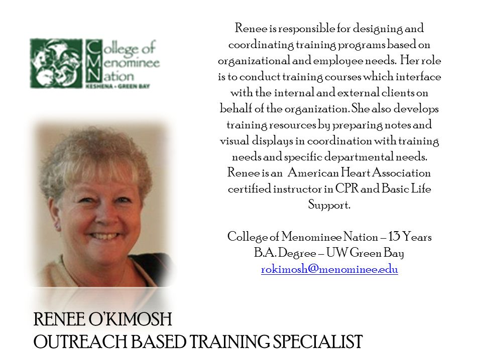 Renee is responsible for designing and coordinating training programs based on organizational and employee needs.