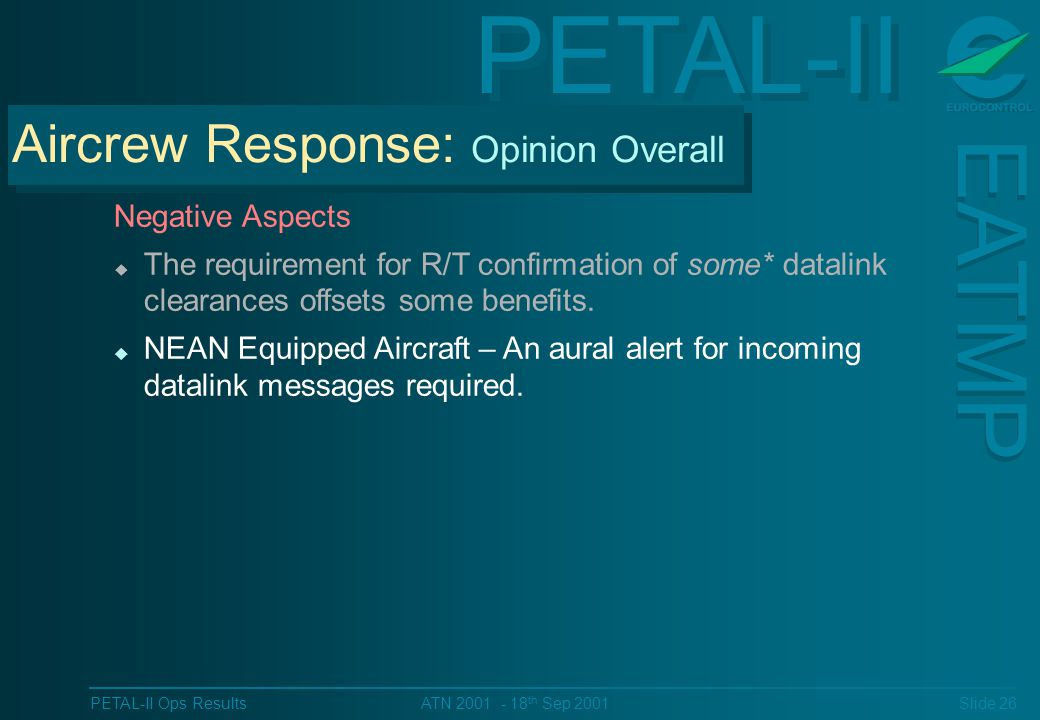 PETAL-II EATMP PETAL-II Ops Results Slide 26 ATN 2001 - 18 th Sep 2001 Negative Aspects u The requirement for R/T confirmation of some* datalink clearances offsets some benefits.