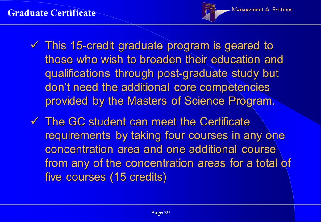 Management & Systems Page 29 Graduate Certificate This 15-credit graduate program is geared to those who wish to broaden their education and qualifications through post-graduate study but dont need the additional core competencies provided by the Masters of Science Program.