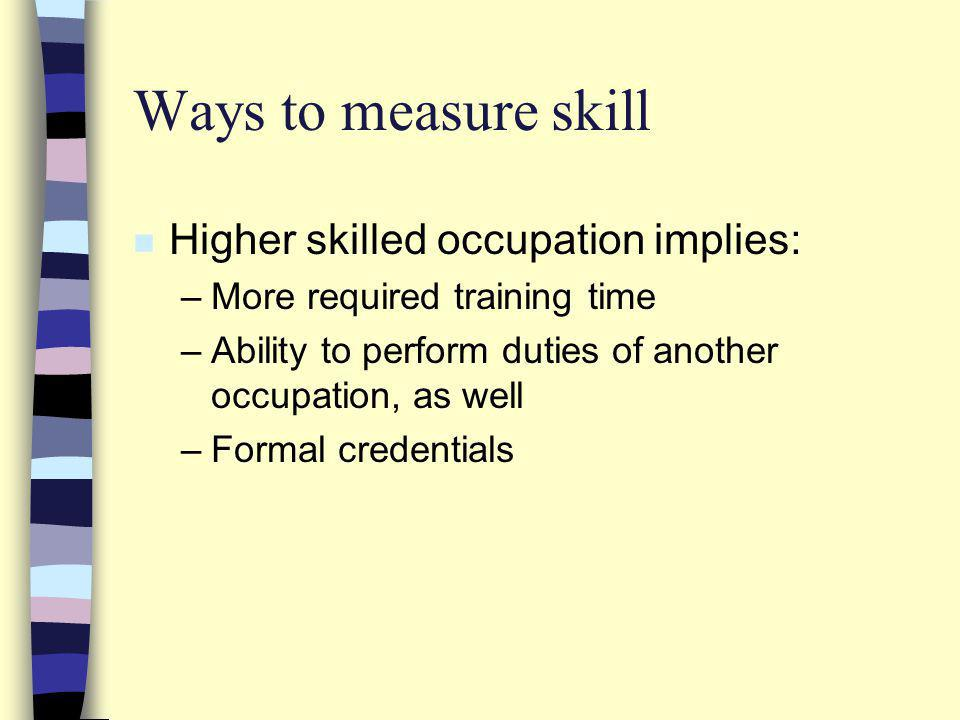 Ways to measure skill n Higher skilled occupation implies: –More required training time –Ability to perform duties of another occupation, as well –Formal credentials
