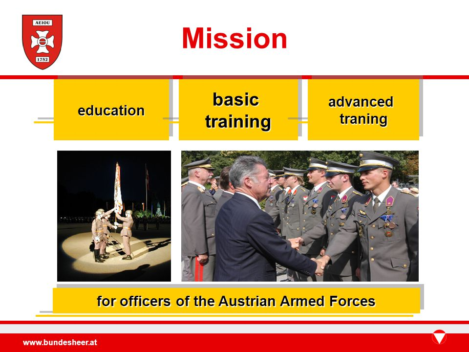 www.bundesheer.at Missioneducationeducationbasictrainingbasictrainingadvancedtraningadvancedtraning for officers of the Austrian Armed Forces
