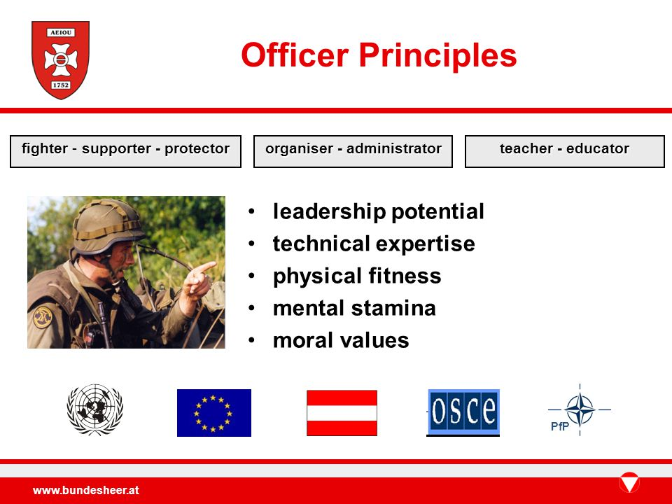 www.bundesheer.at leadership potential technical expertise physical fitness mental stamina moral values PfP Officer Principles fightersupporter - protector fighter - supporter - protector organiser - administrator teacher - educator