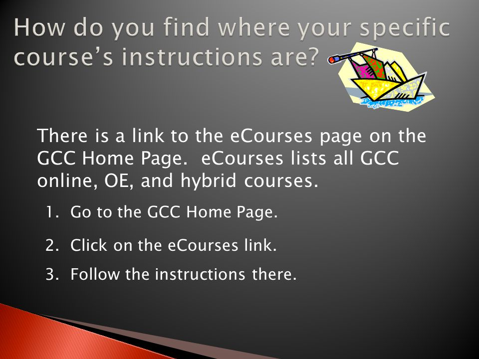 There is a link to the eCourses page on the GCC Home Page.