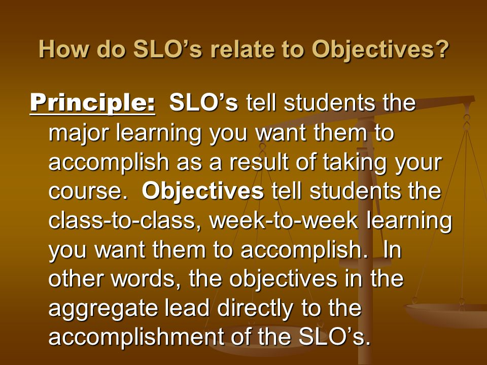 How do SLOs relate to Objectives.