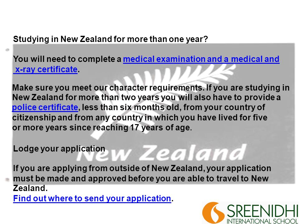 Studying in New Zealand for more than one year.