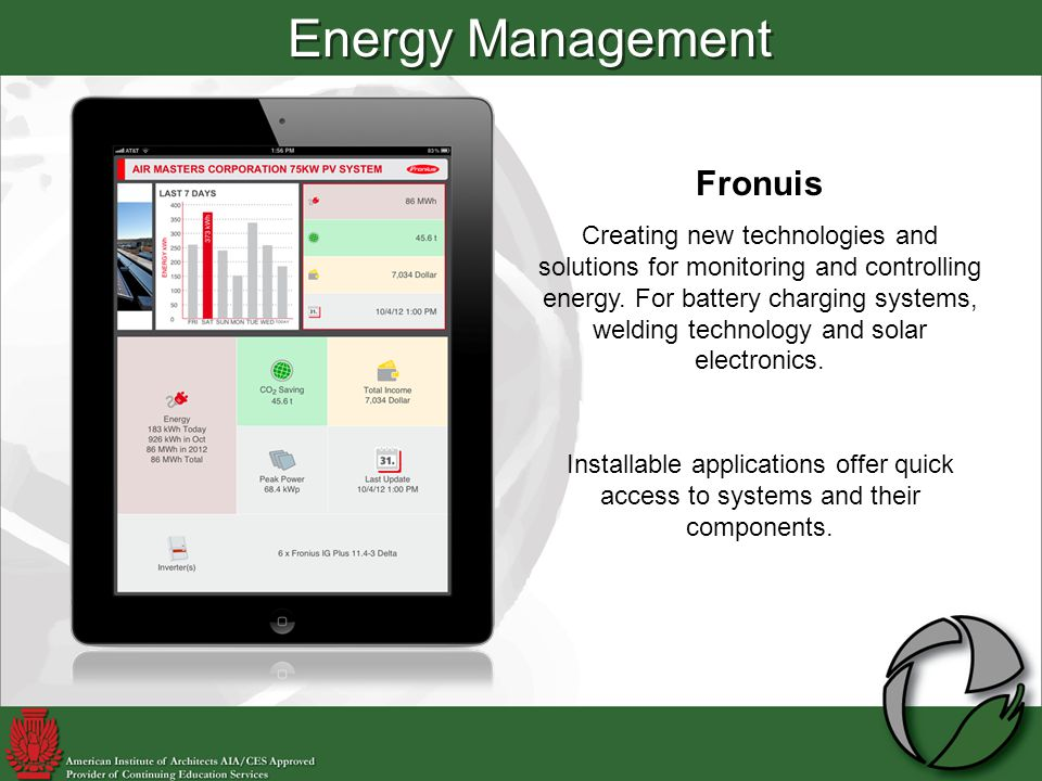 Energy Management Fronuis Creating new technologies and solutions for monitoring and controlling energy.