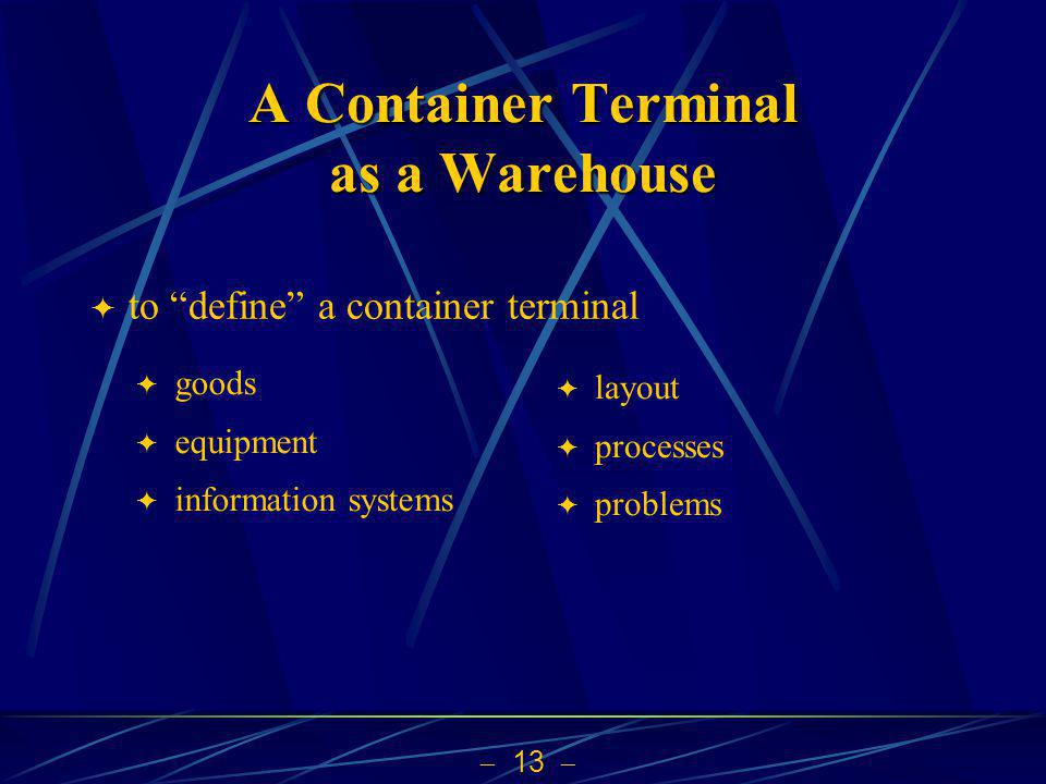 13 A Container Terminal as a Warehouse to define a container terminal goods equipment information systems layout processes problems