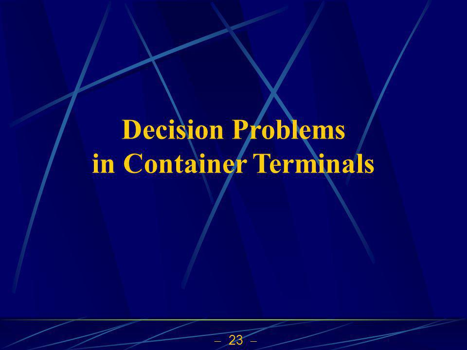 23 Decision Problems in Container Terminals