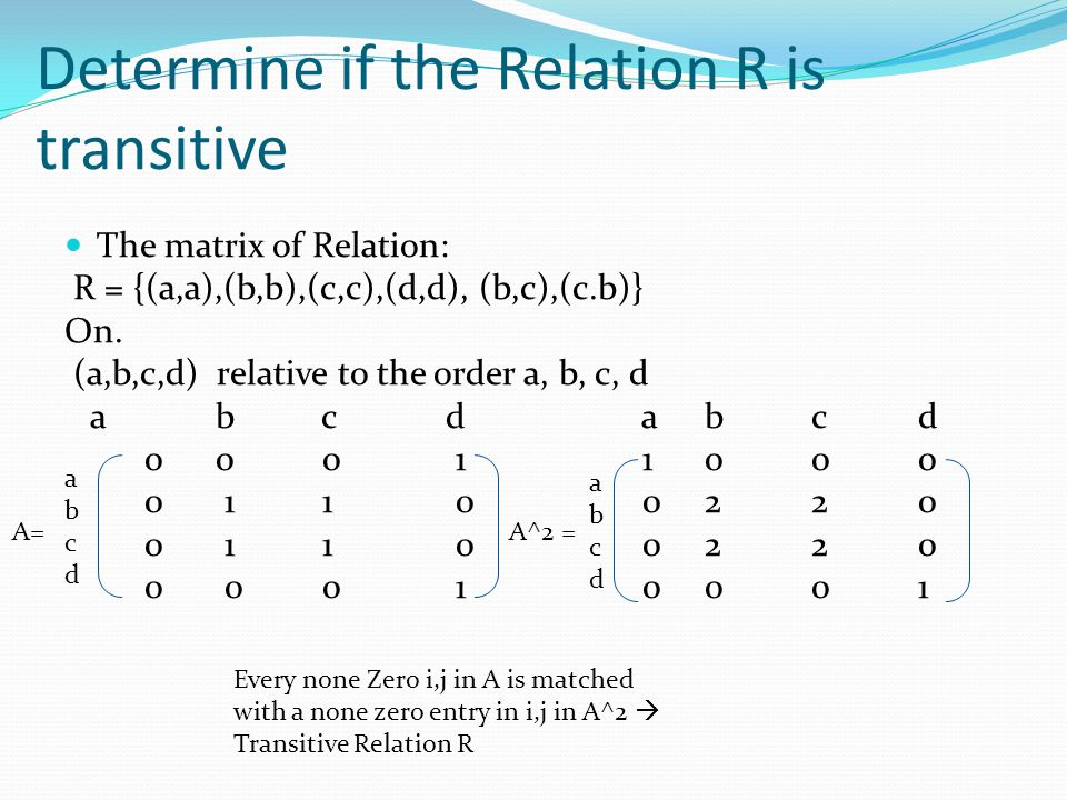 Determine if the Relation R is transitive The matrix of Relation: R = {(a,a),(b,b),(c,c),(d,d), (b,c),(c.b)} On.