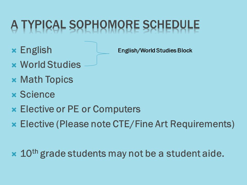 English World Studies Math Topics Science Elective or PE or Computers Elective (Please note CTE/Fine Art Requirements) 10 th grade students may not be a student aide.
