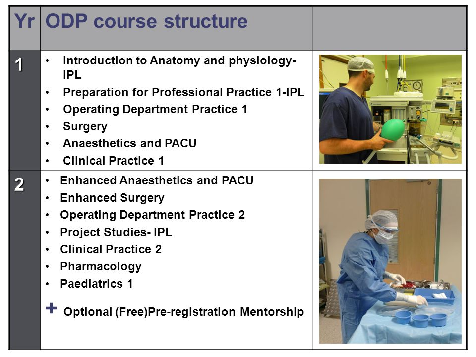 YrODP course structure 1 Introduction to Anatomy and physiology- IPL Preparation for Professional Practice 1-IPL Operating Department Practice 1 Surgery Anaesthetics and PACU Clinical Practice 1 2 Enhanced Anaesthetics and PACU Enhanced Surgery Operating Department Practice 2 Project Studies- IPL Clinical Practice 2 Pharmacology Paediatrics 1 + Optional (Free)Pre-registration Mentorship