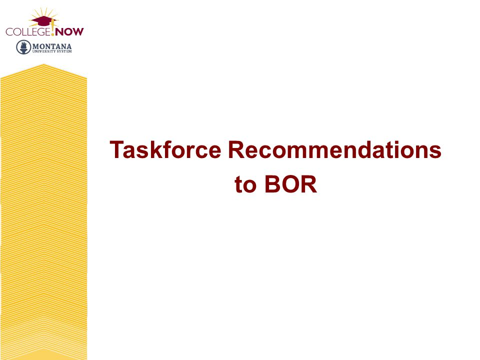 Taskforce Recommendations to BOR