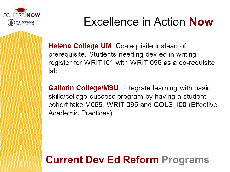 Current Dev Ed Reform Programs Excellence in Action Now Helena College UM: Co-requisite instead of prerequisite.