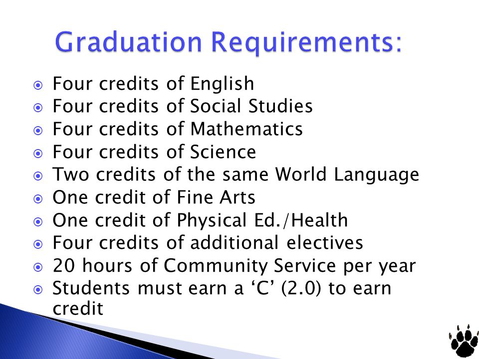 Four credits of English Four credits of Social Studies Four credits of Mathematics Four credits of Science Two credits of the same World Language One credit of Fine Arts One credit of Physical Ed./Health Four credits of additional electives 20 hours of Community Service per year Students must earn a C (2.0) to earn credit
