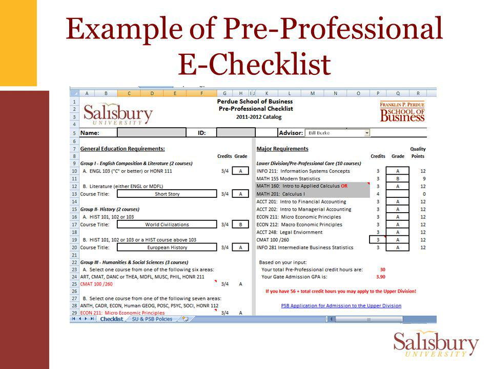 Example of Pre-Professional E-Checklist