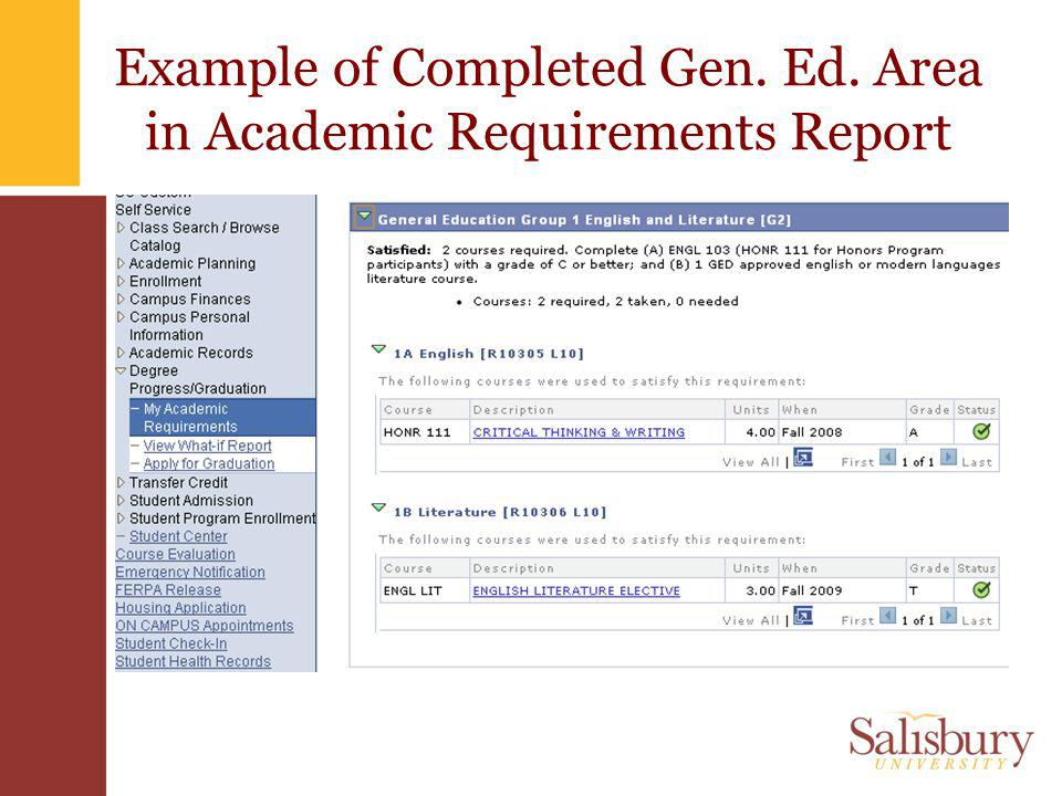 Example of Completed Gen. Ed. Area in Academic Requirements Report