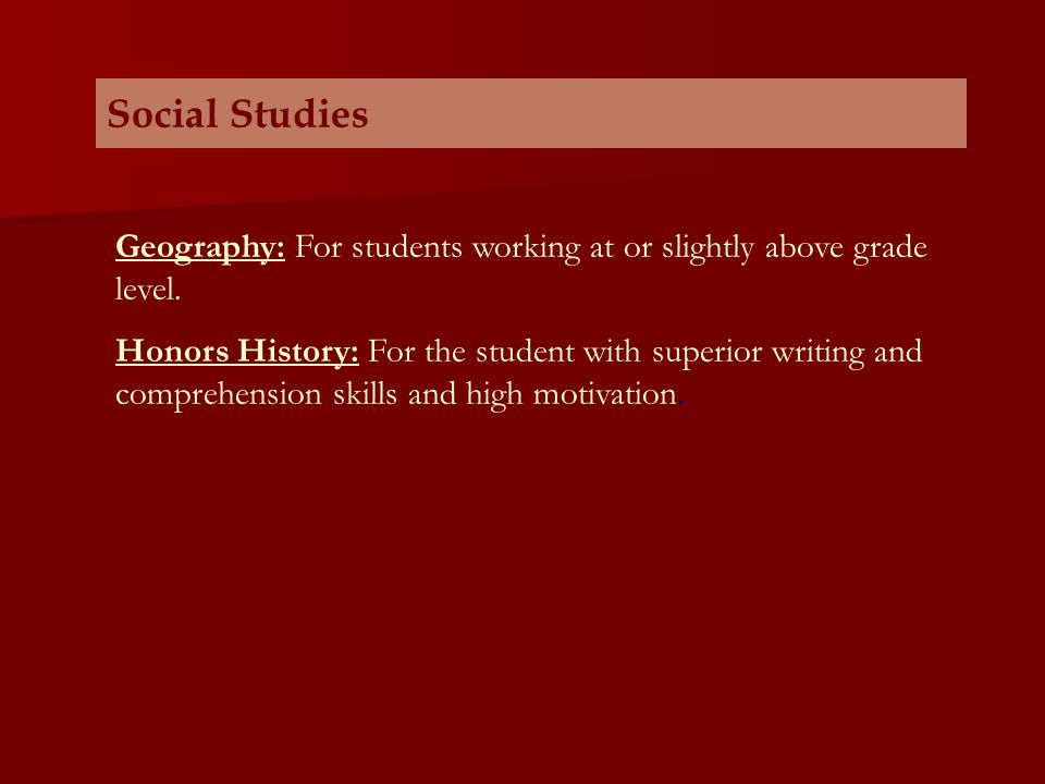 Social Studies Geography: For students working at or slightly above grade level.